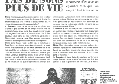 Blinis – Pas de son, plus de vie – Avril 1990